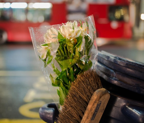 flowers, street cleaning, abandoned flowers,