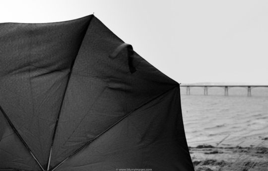 holidays in Wales, pier in Clevedon, umbrella