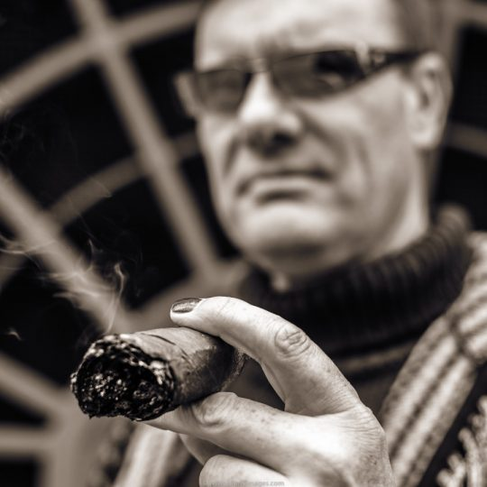 portrait with cigar, smoking man